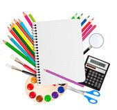 Back to school. Notepad with school supplies. Vector. — Stock Vector