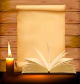 Sfondo con carta vecchia, candela e vecchi libri. illustrazione vettoriale. — Vettoriale Stock