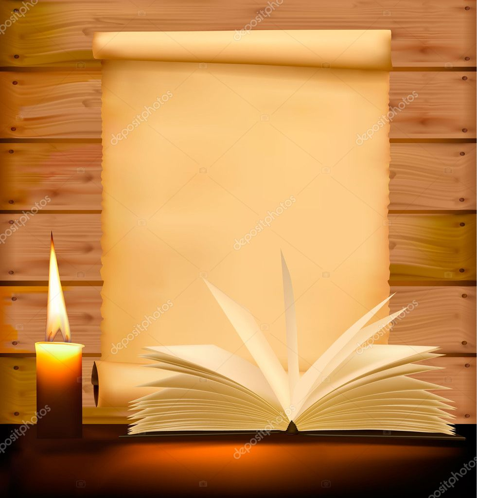 Background with old paper candle and old books vector illustration