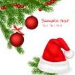Christmas background with Santa bow. Vector. - Stock vektor