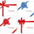 Holiday red bows with a ribbon. Vector. - Imagens vectoriais em stock