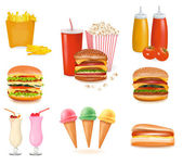 Group of fast food products. Vector illustration. — Stock Vector