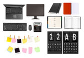 A briefcase, notebooks and some office and business supplies. Vector. — Stock Vector