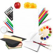Okula dönüş. okul malzemeleri ile not etmek. vektör. — Stok Vektör