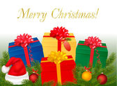 Christmas background with presents and xmas tree branches. Vector. — Stock Vector