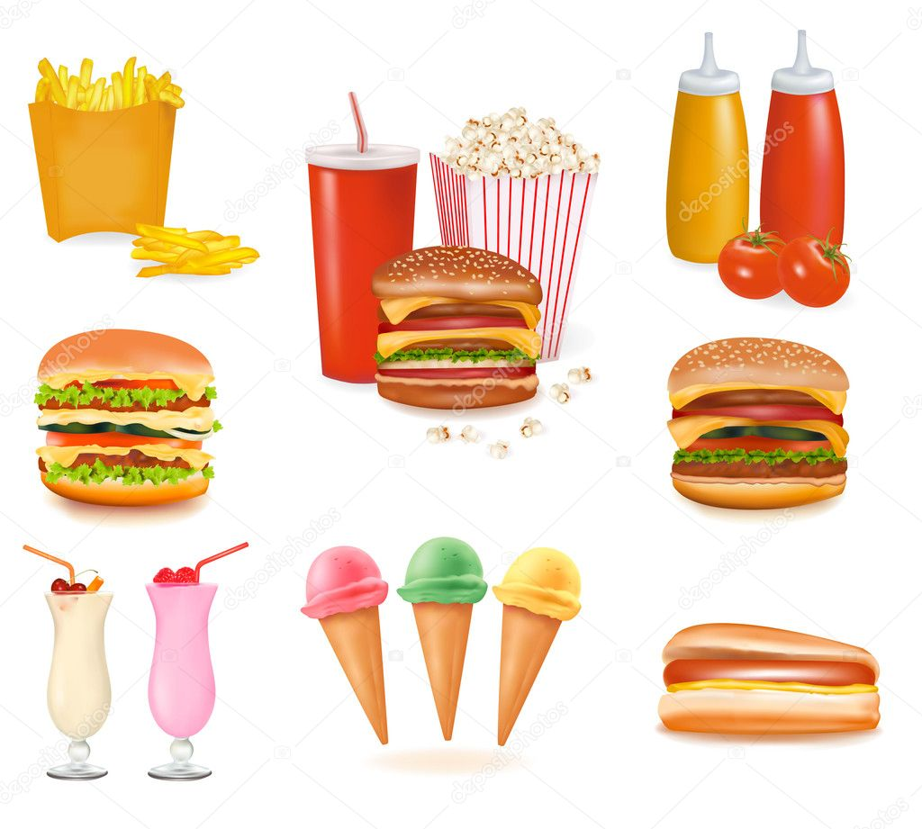 Fast Food Equipment Photos : Download - Group of fast food products. Vector illustration. — Stock ...