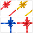 Collection of holiday colored bows with ribbons. Vector. — Stok Vektör