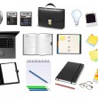 Business and office supplies. Vector. — 图库矢量图片