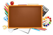 Back to school. Brown desk with school supplies. Vector. — Stock Vector