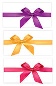 Collection of colored bows with ribbons. Vector. — Stock Vector