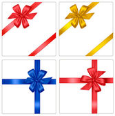 Collection of holiday colored bows with ribbons. Vector. — 图库矢量图片