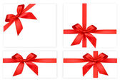 Collection of red gift bows with ribbons. Vector. — Stock Vector