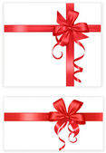 Big set of red gift bows with ribbons. Vector. — Stock Vector