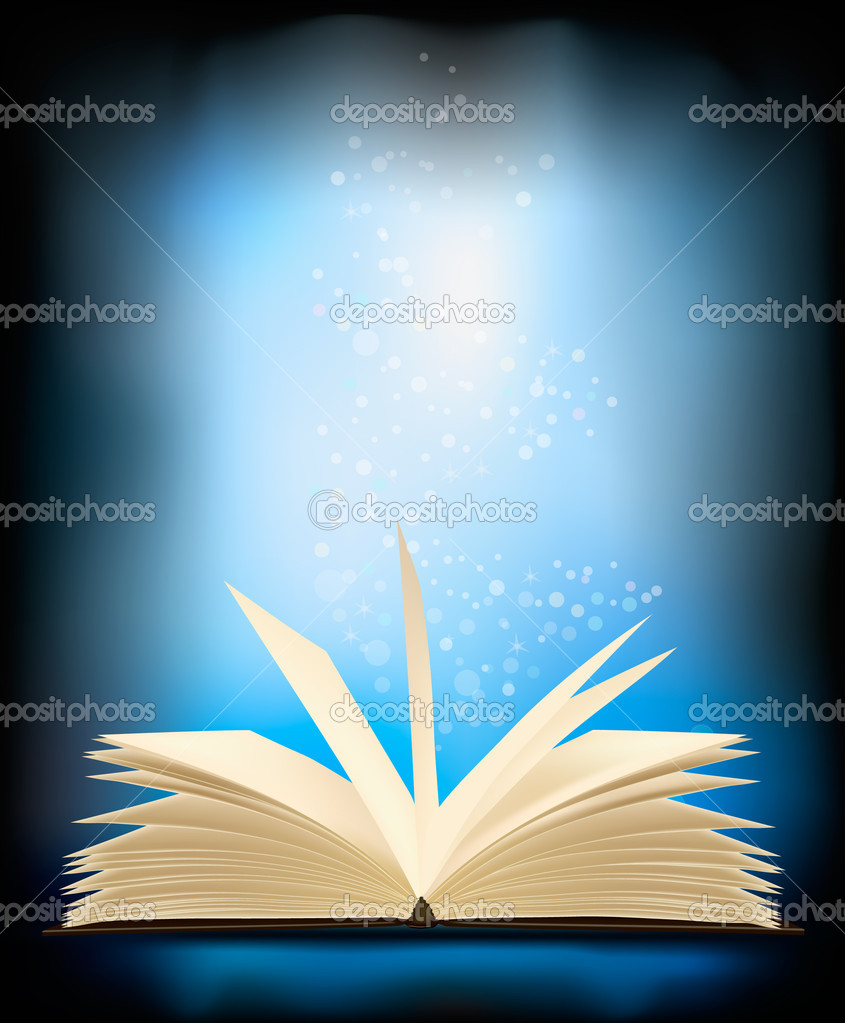 Opened Magic Book With Magic Light. Vector Illustration