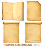 Set of old worn papers. Vector — Stock Vector