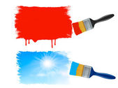 Colorful banners with paintbrushes. Vector. — Stock Vector