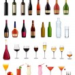 Set of different drinks and bottles. Vector illustration. — Stock Vector #7494338