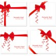 Big set of red gift bows with ribbons. Vector. — Stockvektor