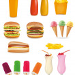 Big set of fast food products. Vector illustration. — Stock Vector