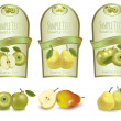 Three green labels with different sorts of fruit. Vector. — Vettoriale Stock  #7494562