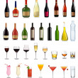 Set of different drinks and bottles. Vector illustration. - Imagens vectoriais em stock