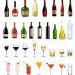 Set of different drinks and bottles. Vector illustration. — Stockvektor