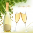 Vector illustration. Two glasses of champagne and bottle. — Stock Vector #7494634