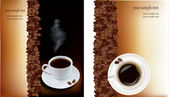 Two designs with cup of coffee and coffee grains. Vector. — Stock Vector
