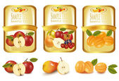 Labels with different sorts of fruit. Vector. — Stock Vector
