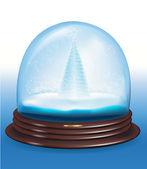 Globo de nieve vectoriales con un árbol de navidad dentro de. — Vector de stock