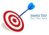 Three darts hitting a target. Success concept. Vector illustration — Stock Vector