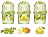 Three green labels with different sorts of fruit. Vector. — Stock Vector