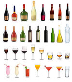 Set of different drinks and bottles. Vector illustration. — Vector de stock