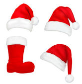 Set of red santa hats and boot. Vector. — Vector de stock