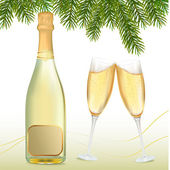 Vector illustration. Two glasses of champagne and bottle — Vector de stock