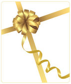 Holiday gold bow with a ribbon. Vector. — Stock Vector