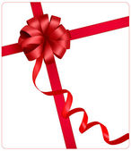 Holiday red bow with a ribbon. Vector. — Stock Vector