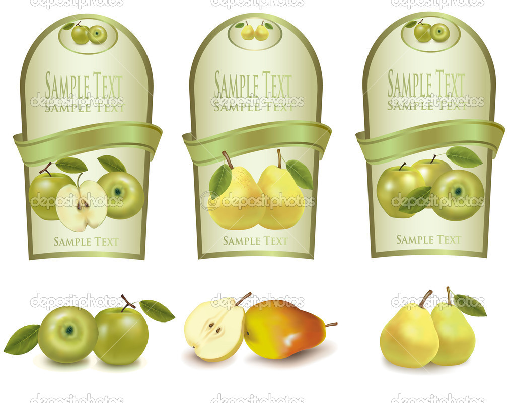 Three green labels with different sorts of fruit. Vector.  Stock Vector #7494562