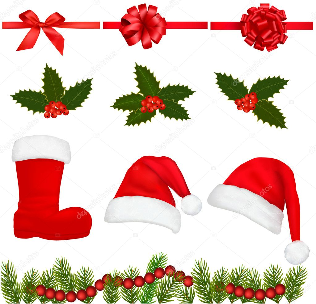 Set of Christmas objects. Vector. — Stock Vector #7494594