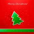 Christmas card with green paper tree. Vector illustration. - Stock Vector