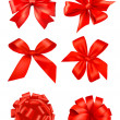 Collection of red bows with ribbons. Vector. — Image vectorielle