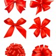 Collection of red bows with ribbons. Vector. — Stock Vector #7791951