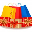 Royalty-Free Stock Imagem Vetorial: Collection of holiday shopping bags and gift boxes with sale label. Concept