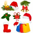Set of Christmas objects. Vector. — Stock Vector
