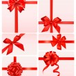 Big set of red gift bows with ribbons. Vector. — Stockvector