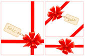 Red gift bows with ribbons and sale label. Vector. — Stock Vector