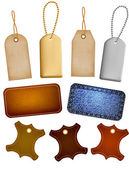 Collection of leather and jeans labels and tags. Vector illustration — Cтоковый вектор