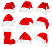 Big set of red santa hats and boot. Vector. — Stockvector