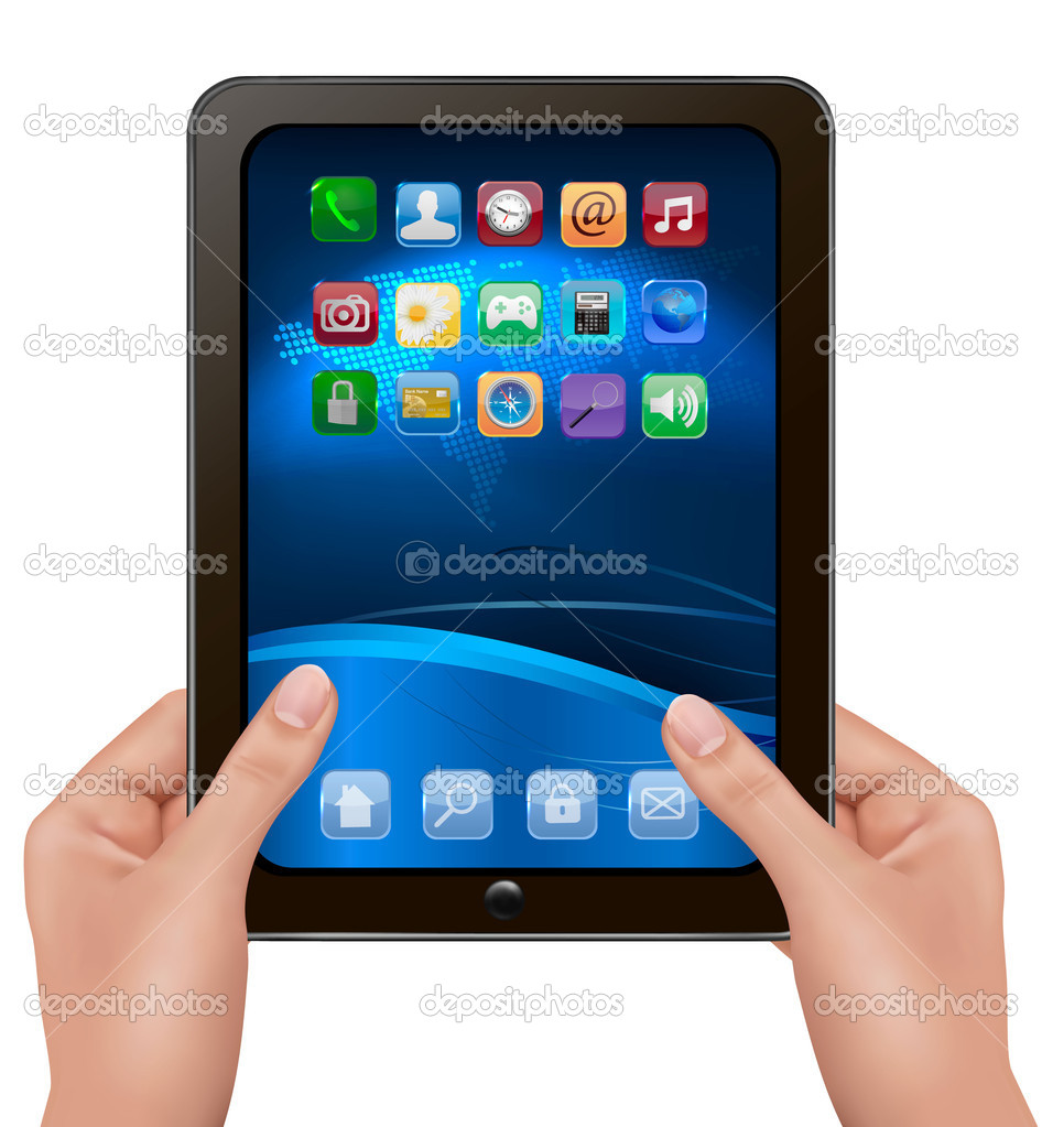 Hands holding digital tablet computer with icons vector illustration
