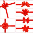 Set of red gift bows with ribbons. Vector. - Stok Vektör